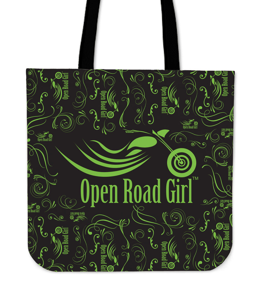 GREEN Scatter Open Road Girl CLOTH Tote