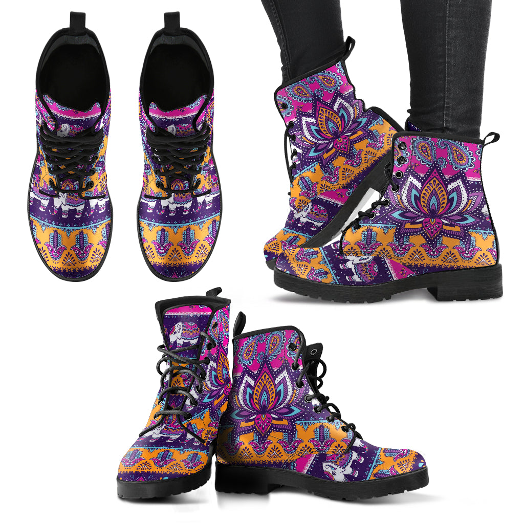 Colorful Lotus Women's Leather Boots
