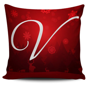 Christmas Love Pillow Cover - Letter V