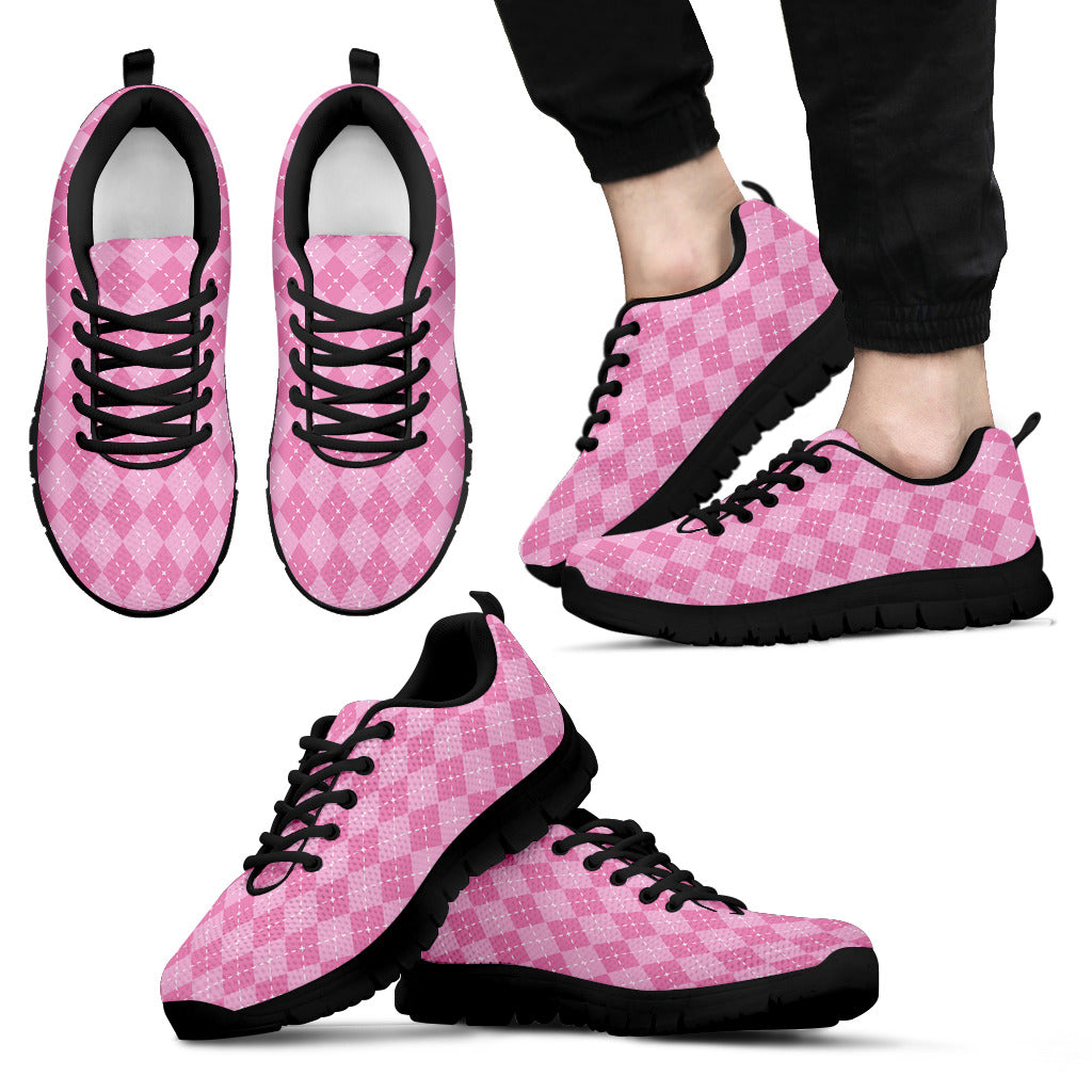 Pink Argyle Men's Sneakers