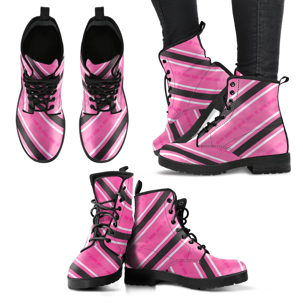 Pink Black White Stripes - Women's Leather Boots