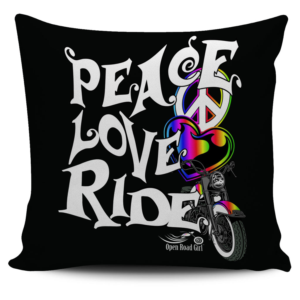 Rainbow Peace Love Ride Pillow Cover
