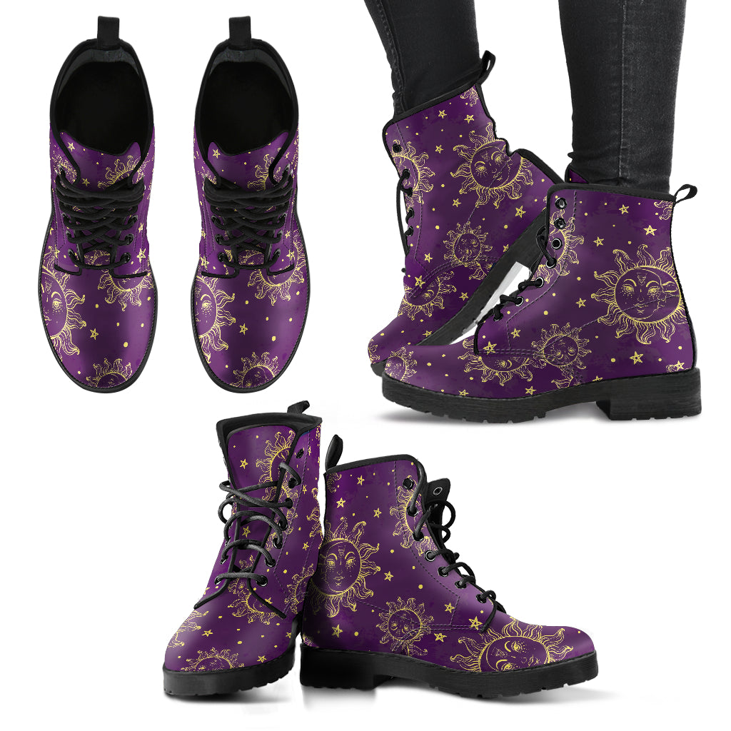 Sun Moon Pattern Women's Leather Boots