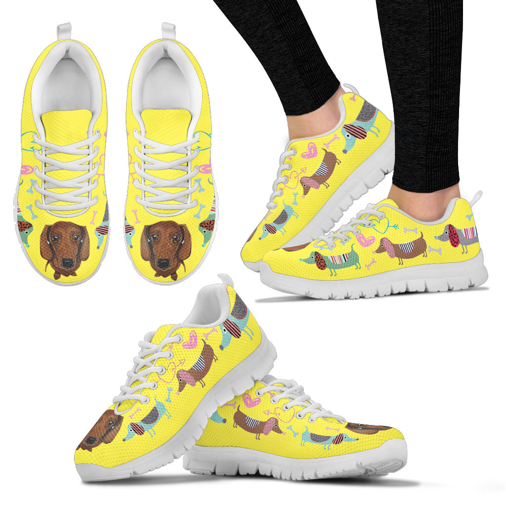 Yellow sneakers with dachsund with cute eyes