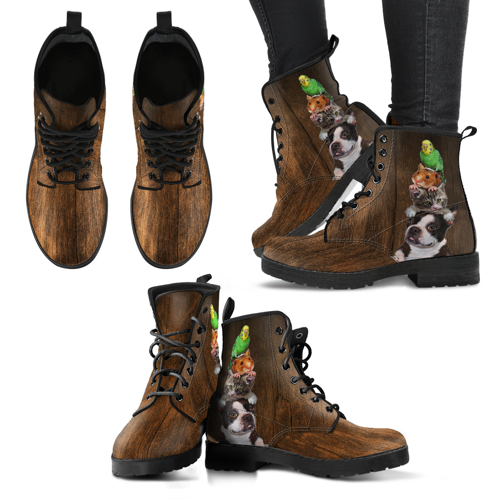 Animal Lover Vet Ladies Leather Look Boots