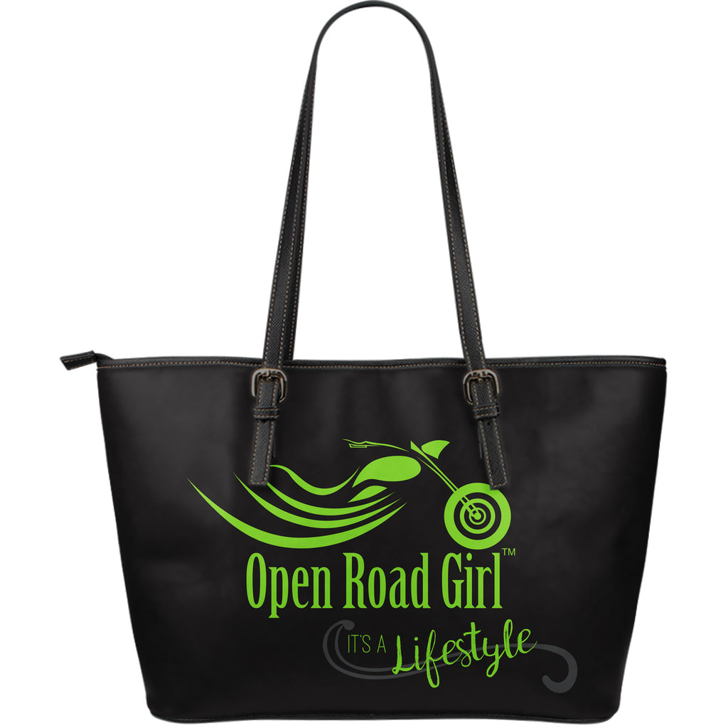 GREEN It's a Lifestyle Open Road Girl LARGE PU LEATHER Tote