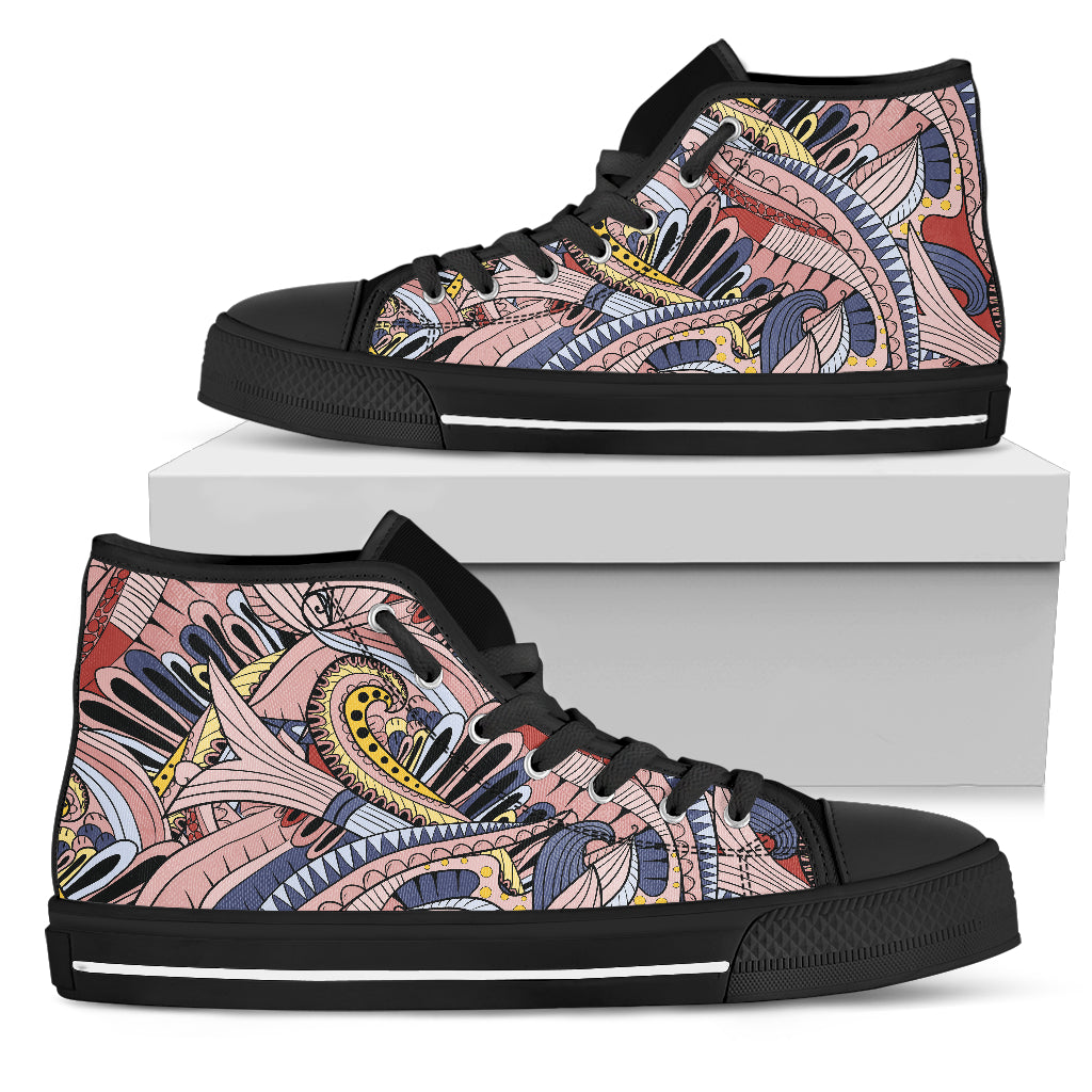 Funky Patterns in Pinks - Women's High Top Shoes (Black)