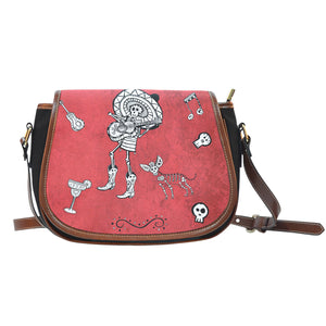 Day of the Dead Leather Trim Cross Body Bag