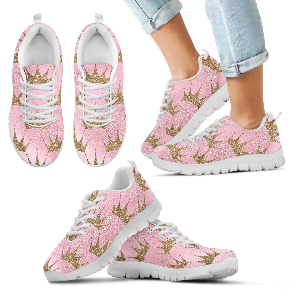 Pink Princess Kid's sneakers with golden crowns