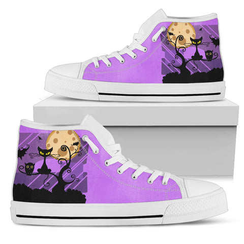 Prowling Cat (White Soles) Women's High Top