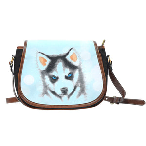 Puppy Husky Leather Trim Cross Body Bag