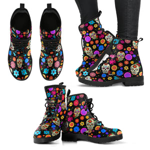 Sugar Skull Party Vegan Leather Boots for Women