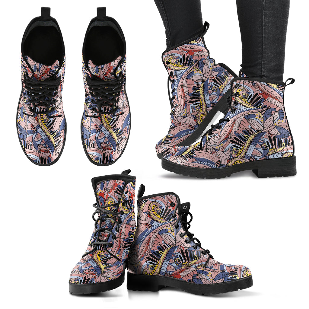 Funky Patterns in Pinks - Leather Boots for Women