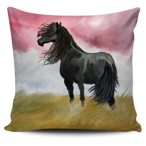 Black Horse in the Wind Pillow Cover