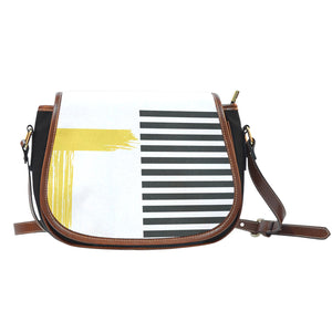 Stripes-Design-03 Canvas/Leather Saddle Bag