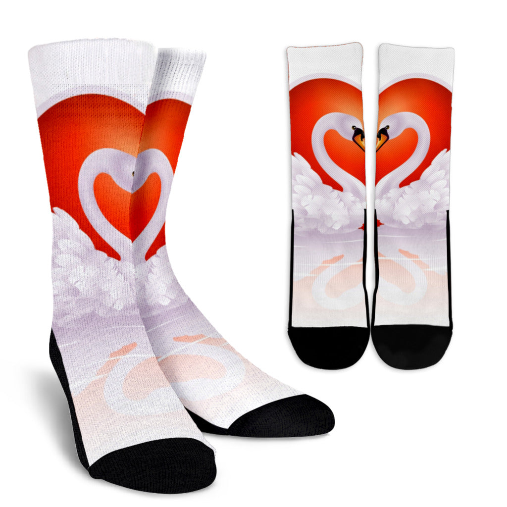 Swan Love Crew Socks - White