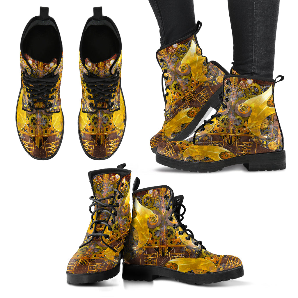 Yellow Women's Leather Boots