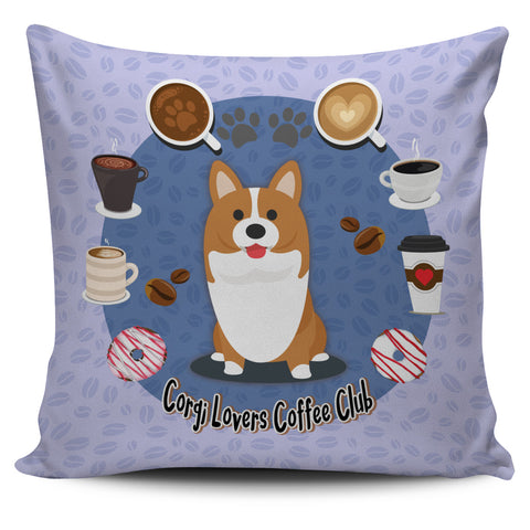 Corgi Lovers Coffee Club Pillow Cover Lilac