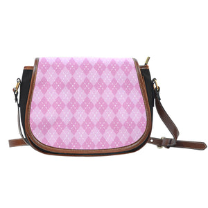 Pink Argyle Black Canvas Leather Trim Saddle Bag