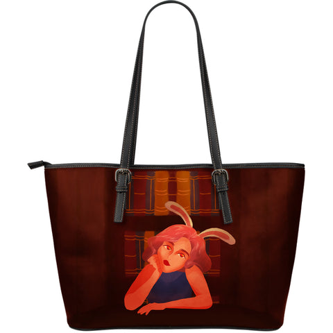 Library-Bunny-Girl-01 Large Leather Tote
