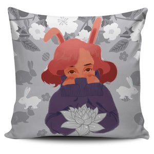 Bunny-Girl-Gray-01 Pillow Cover