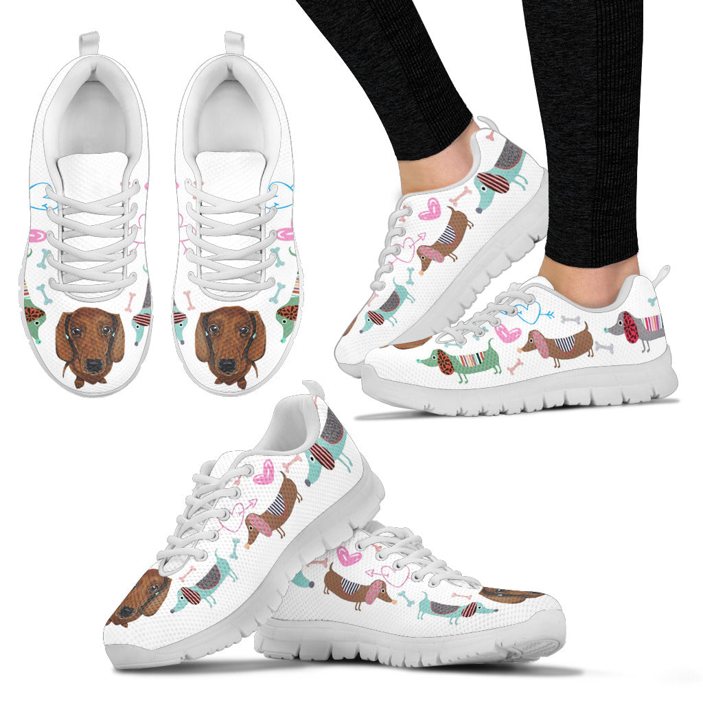 White sneakers with dachsund with cute eyes and hearts