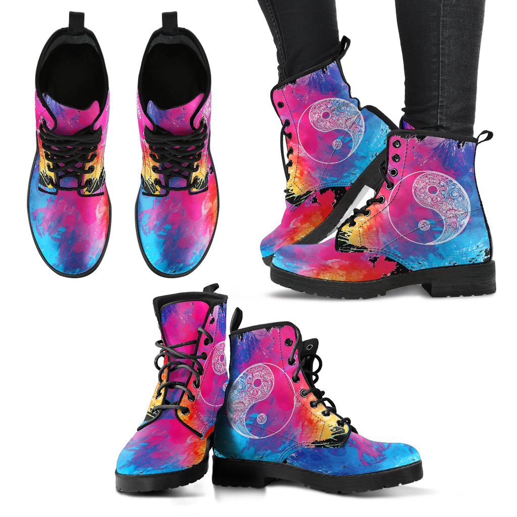 Colorful Yin Yang Women's Leather Boots