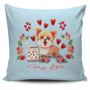 Blue Corgi Love Pillow Cover Set