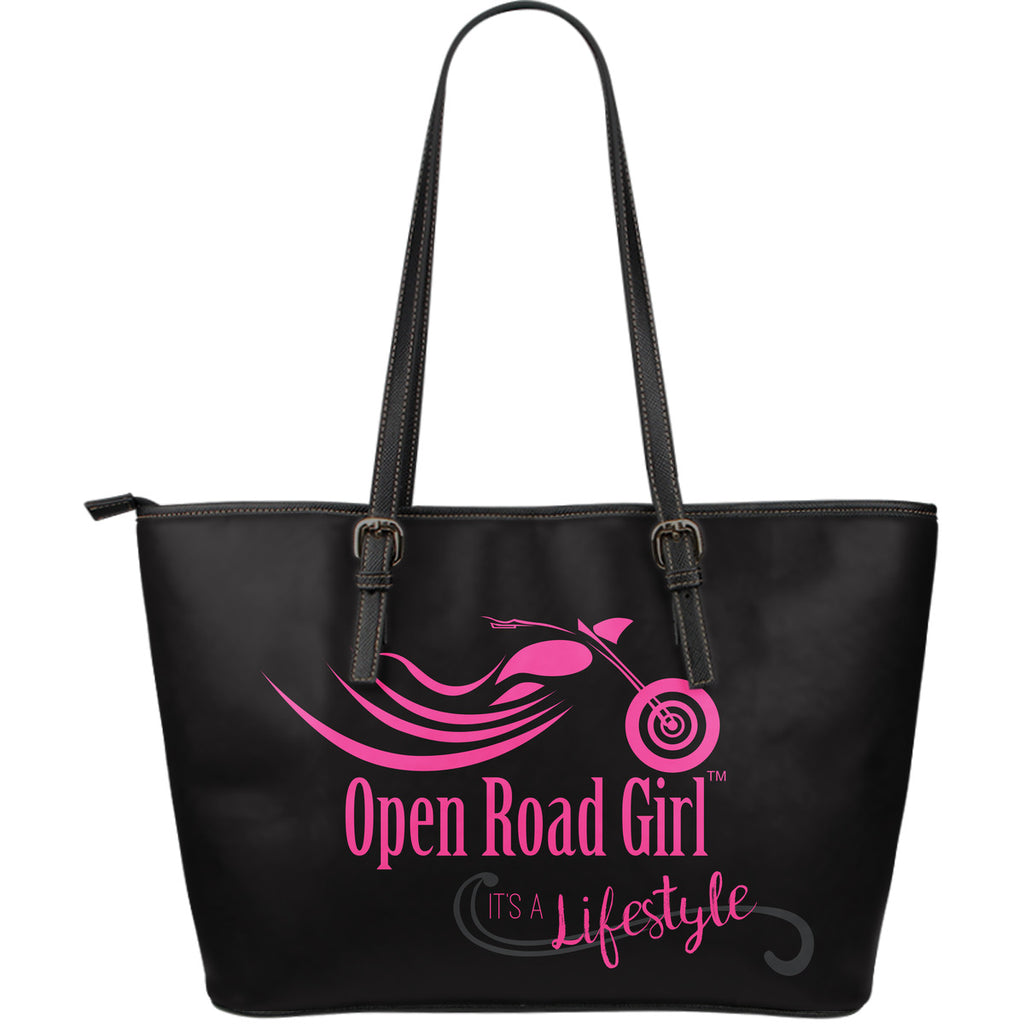 PINK It's a Lifestyle Open Road Girl LARGE PU LEATHER Tote