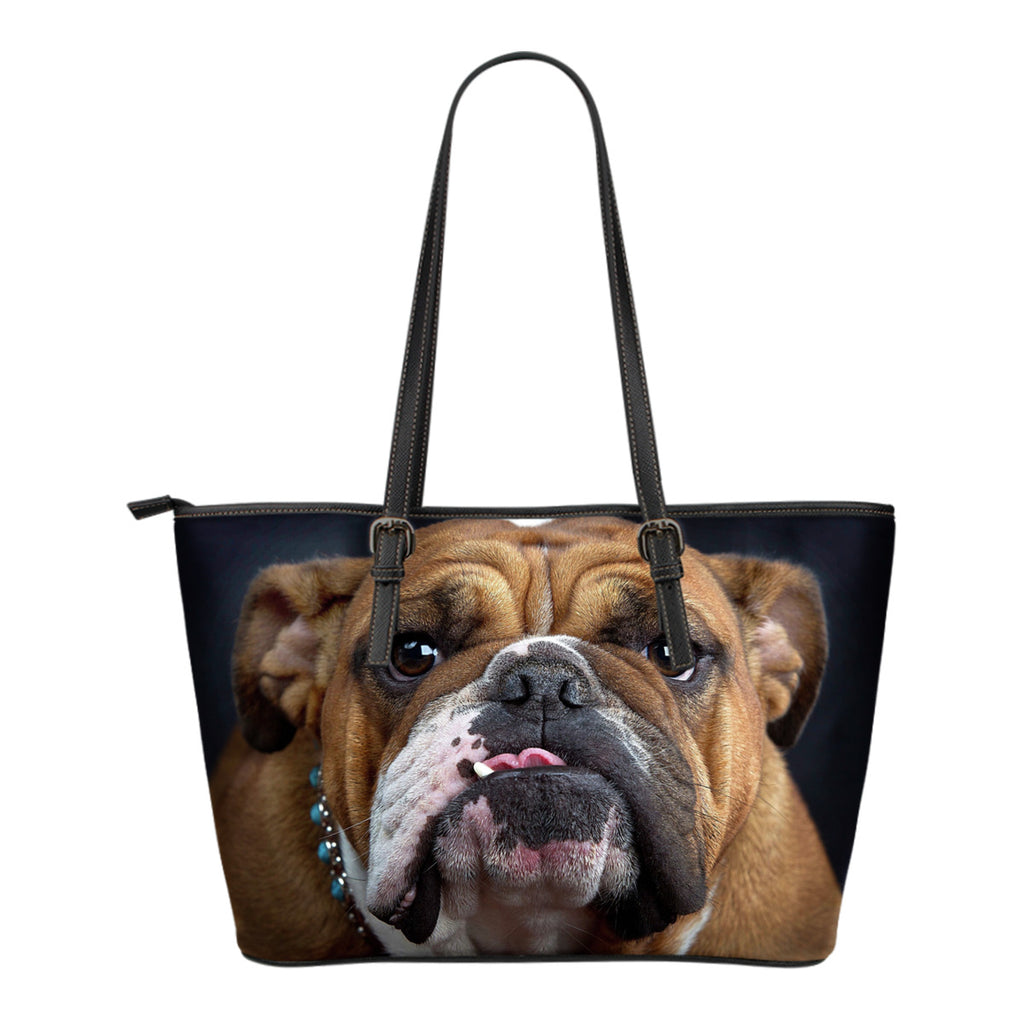Bulldog Lovers Small Leather Handbag