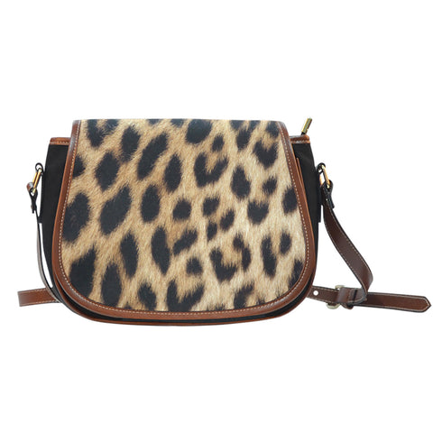 Leopard Fur Print Ladies Saddle Handbag