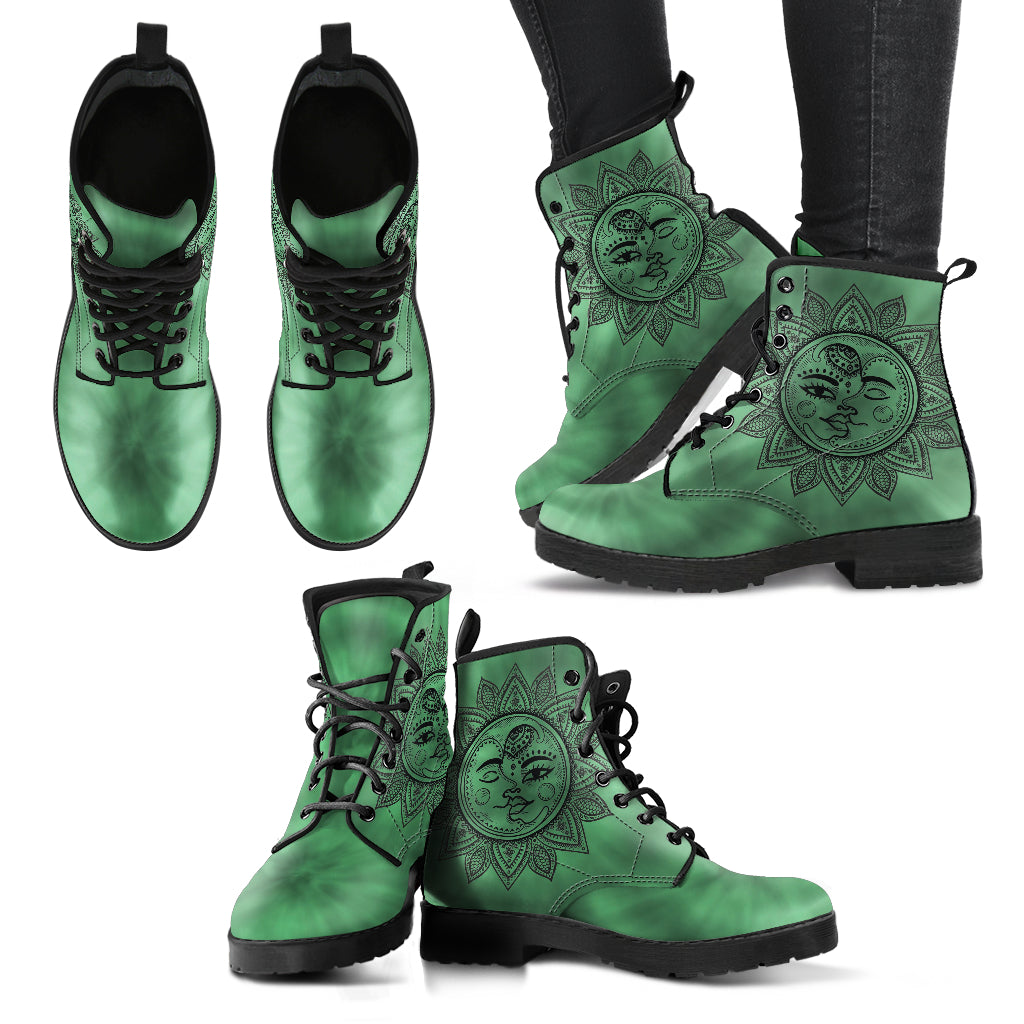 TieDye Sun and Moon Women's Leather Boots