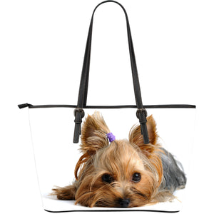 Yorkie Large Leather Tote