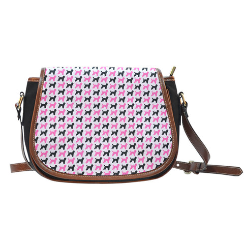Pink Poodle Dog Canvas Saddle Bag