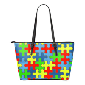 Autism Awareness Small Leather Tote Bag