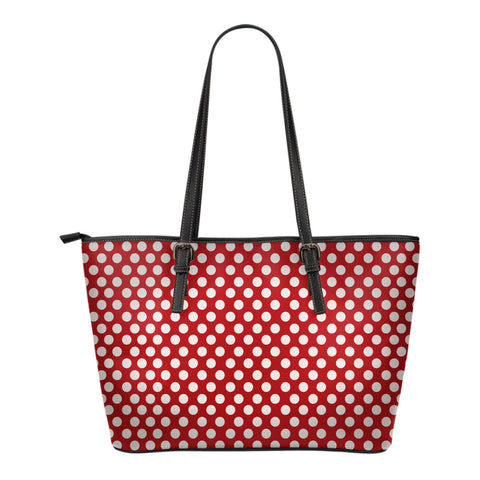 Polka-Dots-Design Small Leather Tote Bag
