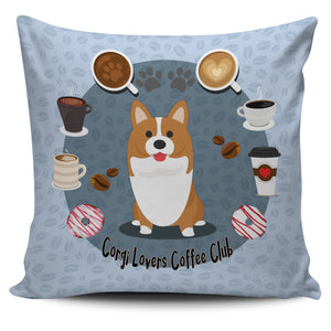 Corgi Lovers Coffee Club Pillow Cover Blue
