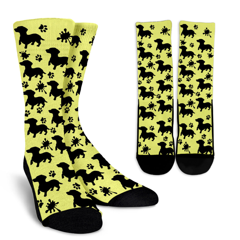 Yellow socks balck dachsund