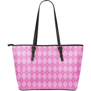Pink Argyle Large Leather Tote Bag