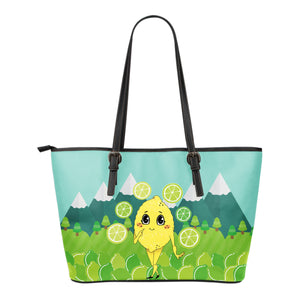 Lemon-World-01 Small Leather Tote