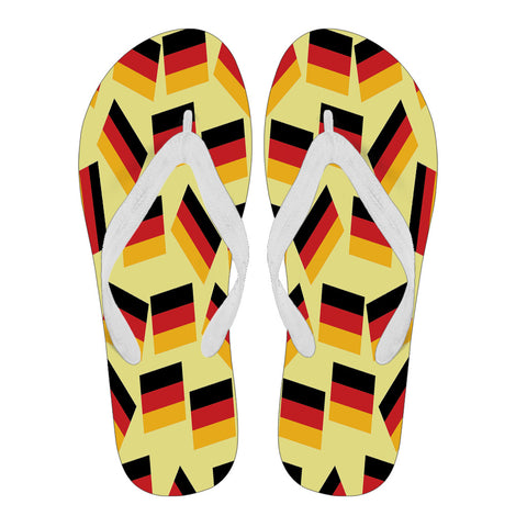 GERMANY'S PRIDE! GERMANY'S FLAGSHOE - Women's Flip Flops (yellow bg - white strap)
