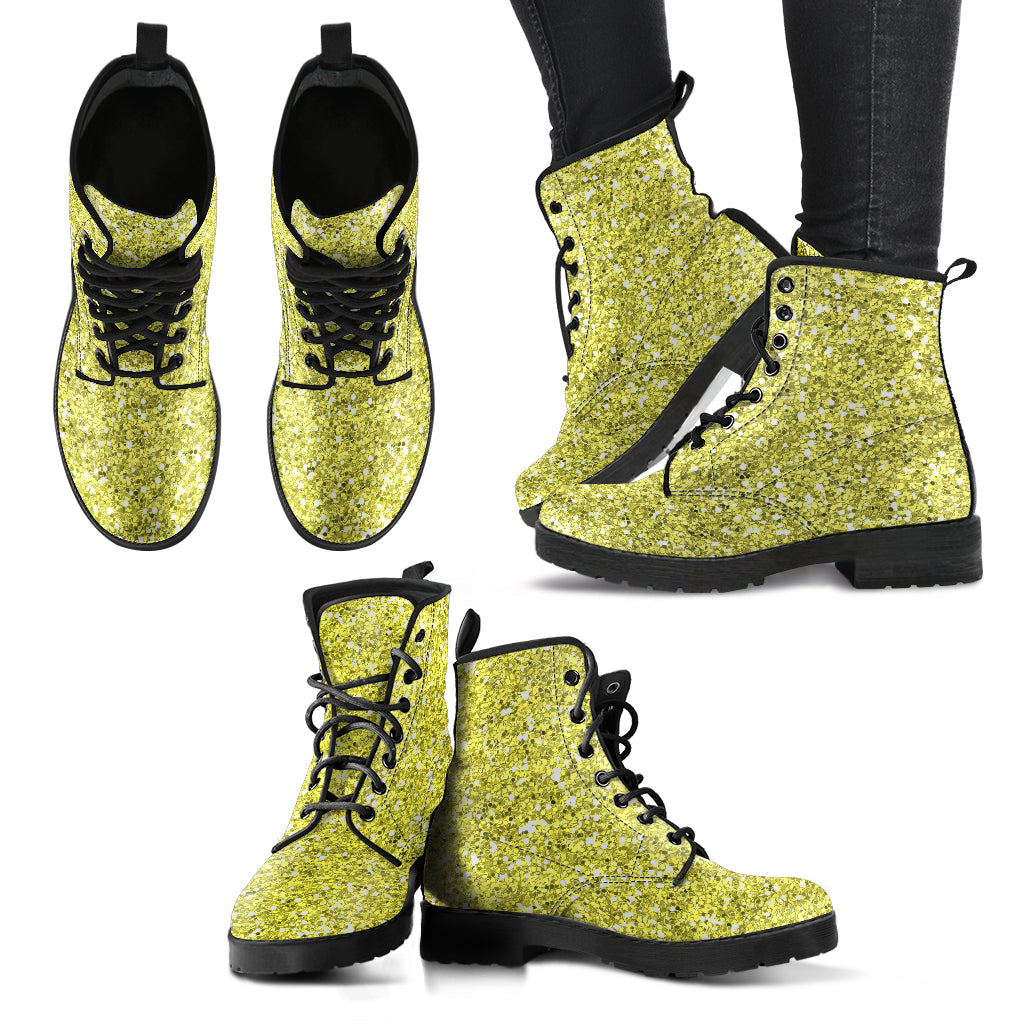 Metallic Effect in Yellow Gold - Leather Boots for Women