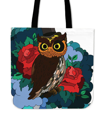 Tote Bag Owl Flowers