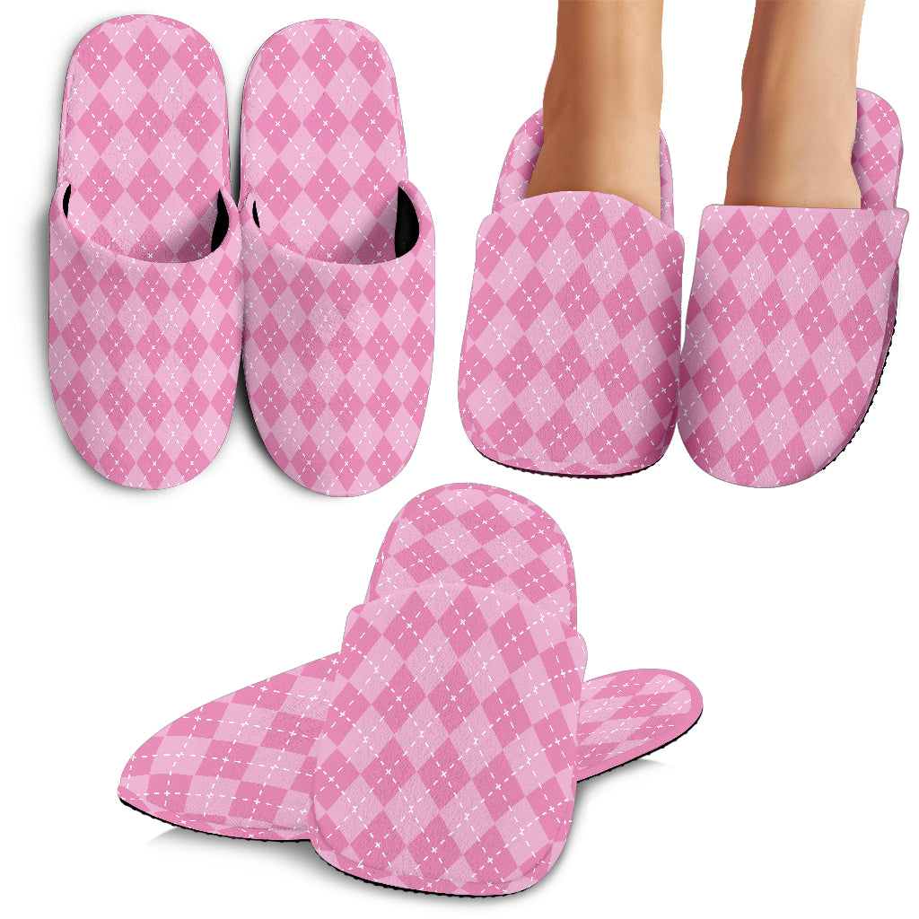 Pink Argyle Slippers