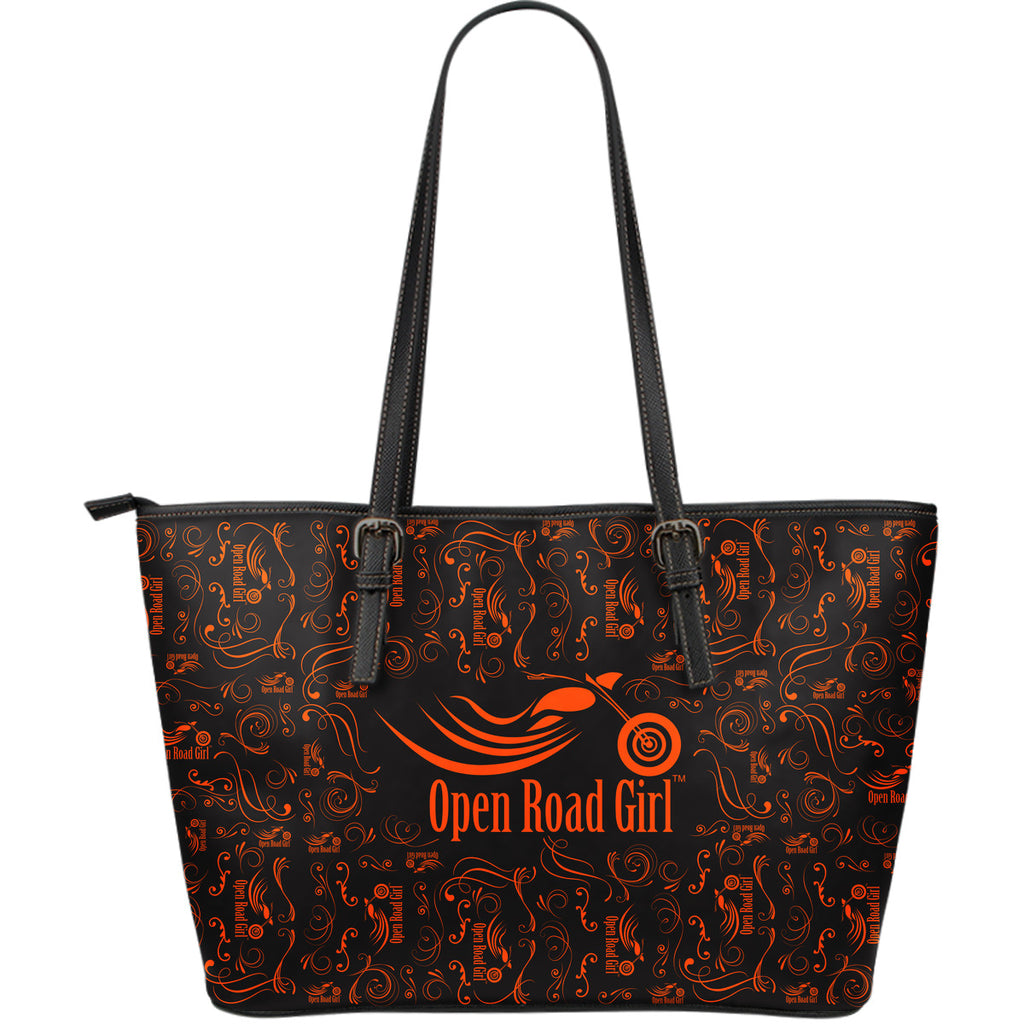 ORANGE Open Road Girl LARGE PU LEATHER Tote