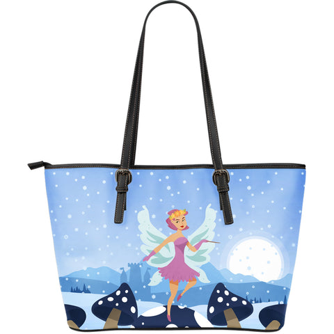 Snow-Fairy-01 Large Leather Tote