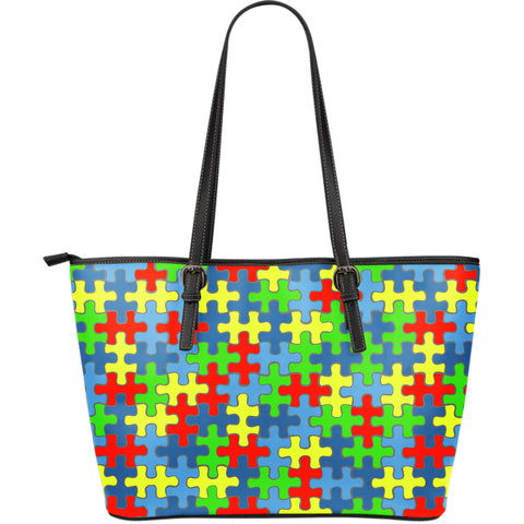 Autism Awareness Large Leather Tote Bag