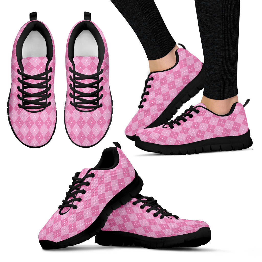 Pink Argyle Women's Sneakers