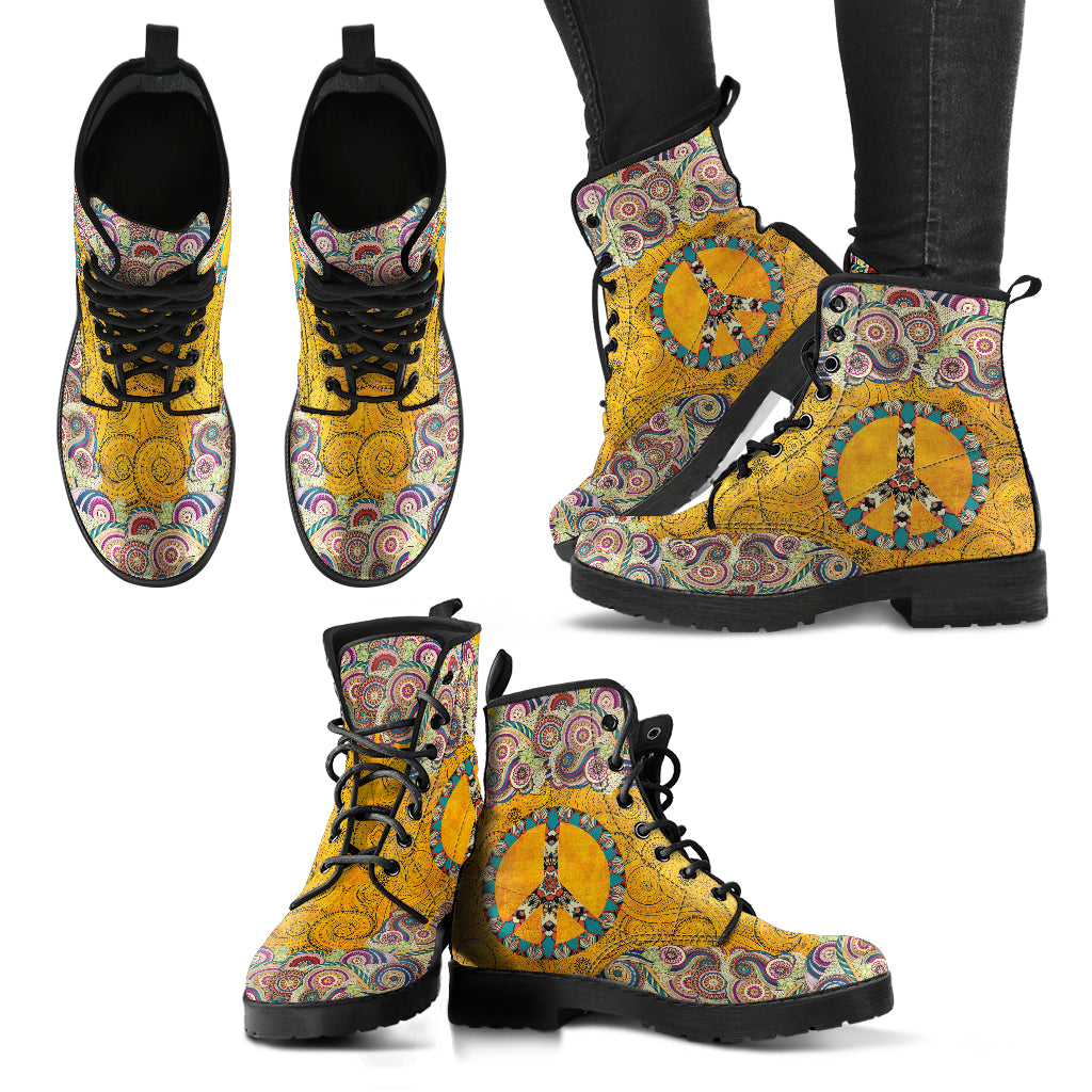 Peace Mandala Yellow Handcrafted Boots
