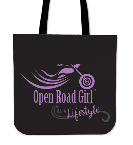 PURPLE It's a Lifestyle Open Road Girl CLOTH Tote